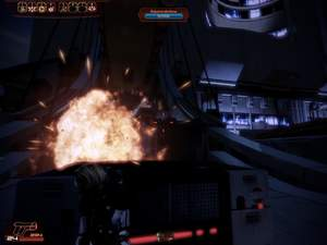Mass Effect 2 : Achten Sie auf die Raketendrohen oben am Ende der langen Brücke.