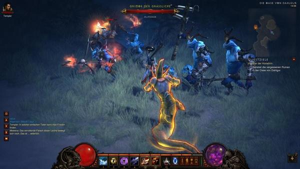 Diablo 3 - Komplettlösung : Bei der Oase von Dhalgur wimmelt es von Gegnern.