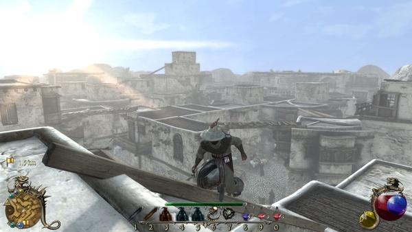 Two Worlds 2 : Über den Dächern von Cheznaddar behalten wir den besten Überblick über das Gassengewirr. Von Assassin´s Creed unterscheidet sich Two Worlds 2 aber durch eine ungleich schwammigere Steuerung und deutliche steifere Animationen.