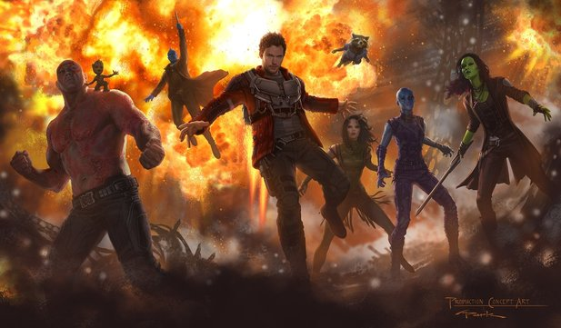 Erstes Concept-Art zu Marvels Guardians of the Galaxy 2 mit baby Groot und Neuzugang Mantis.