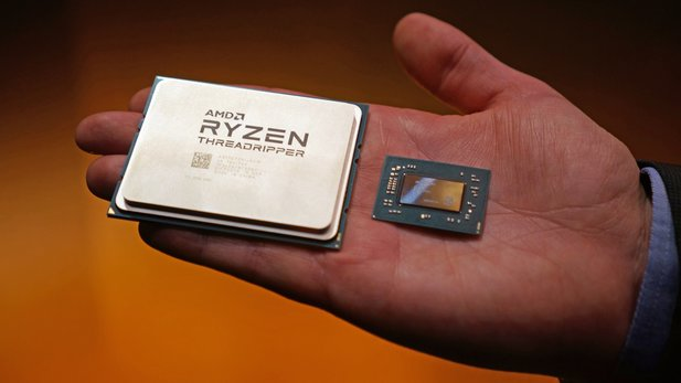 AMD Threadripper: Größe der Monster-CPU vs. Raven Ridge.