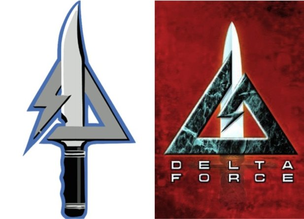 Links: Das Delta-Force-Logo bei Call of Duty: Modern Warfare 3. Rechts: Das Logo in den Delta-Force-Logo von Novalogic.