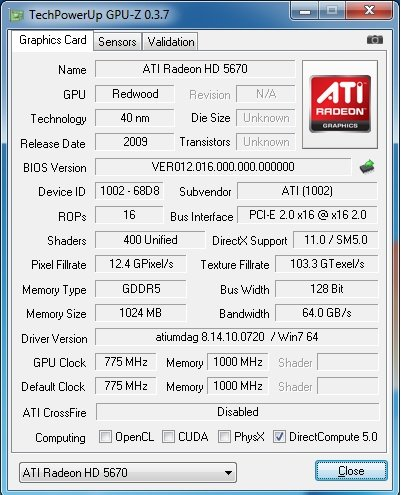 Der GPU-Z-Screenshot der Radeon HD 5670.