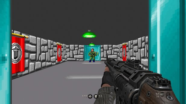 Der Screenshot stammt aus dem Retro-Easteregg aus Wolfenstein: The New Order.
