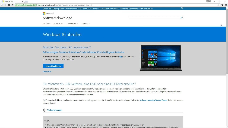 1196ca70ccd636 Das Media Creation Tool können Sie auf der Microsoft-Homepage kostenlos  herunterladen