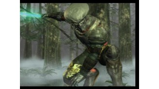 Don't call me 'Predator'. Yoshimitsu de-cloaks as he leaps from a tree in the CGI intro.