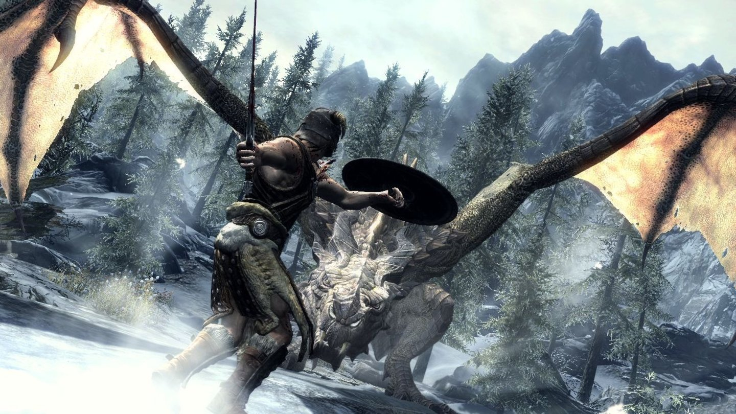 The Elder Scrolls 5: Skyrim - E3-Screenshots: Dragon Fight