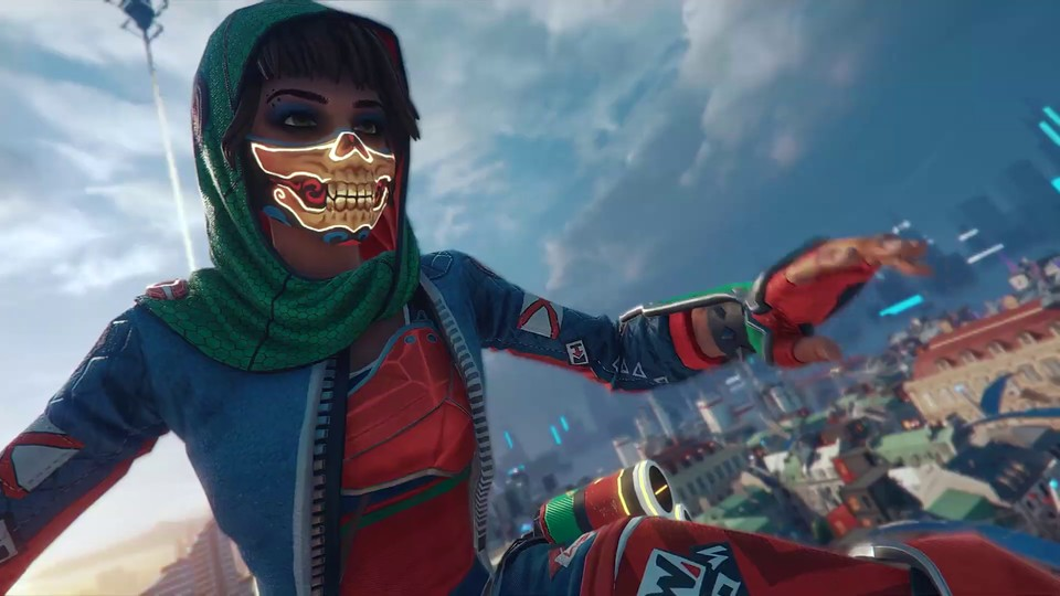 Jeder kann ab sofort Hyper Scape spielen - Ubisofts neues Battle Royale. Für so hübsche Skins wie hier müsst ihr aber den Battle Pass leveln.