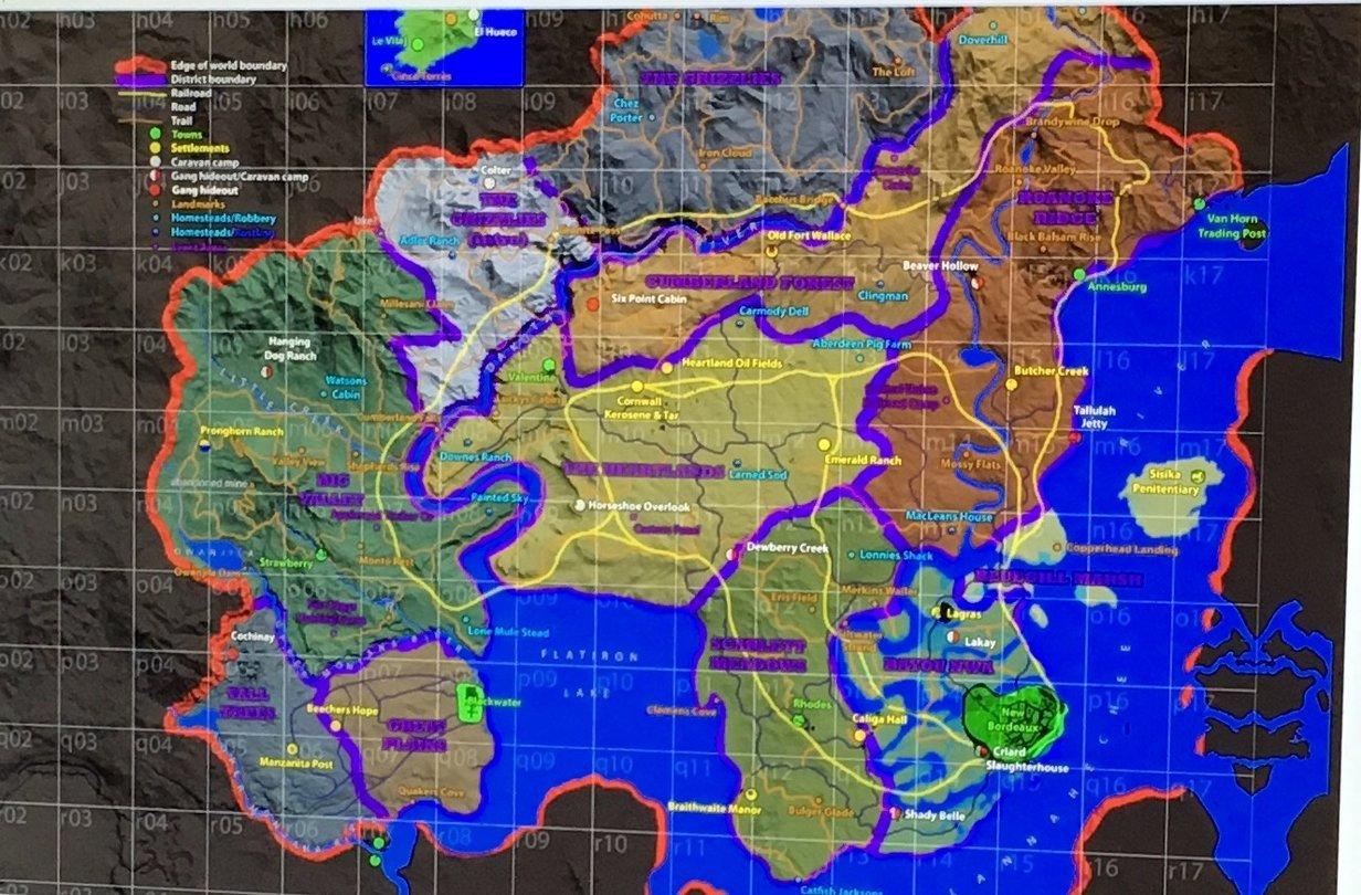 Rdr2 Karte.Red Dead Redemption 2 Vermeintliche Karte Der Spielwelt Aufgetaucht