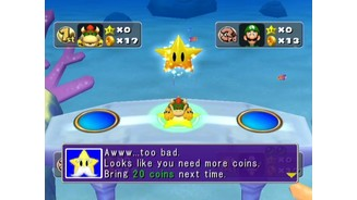 Oh no, Bowser doesn't have enough coins to buy the star!