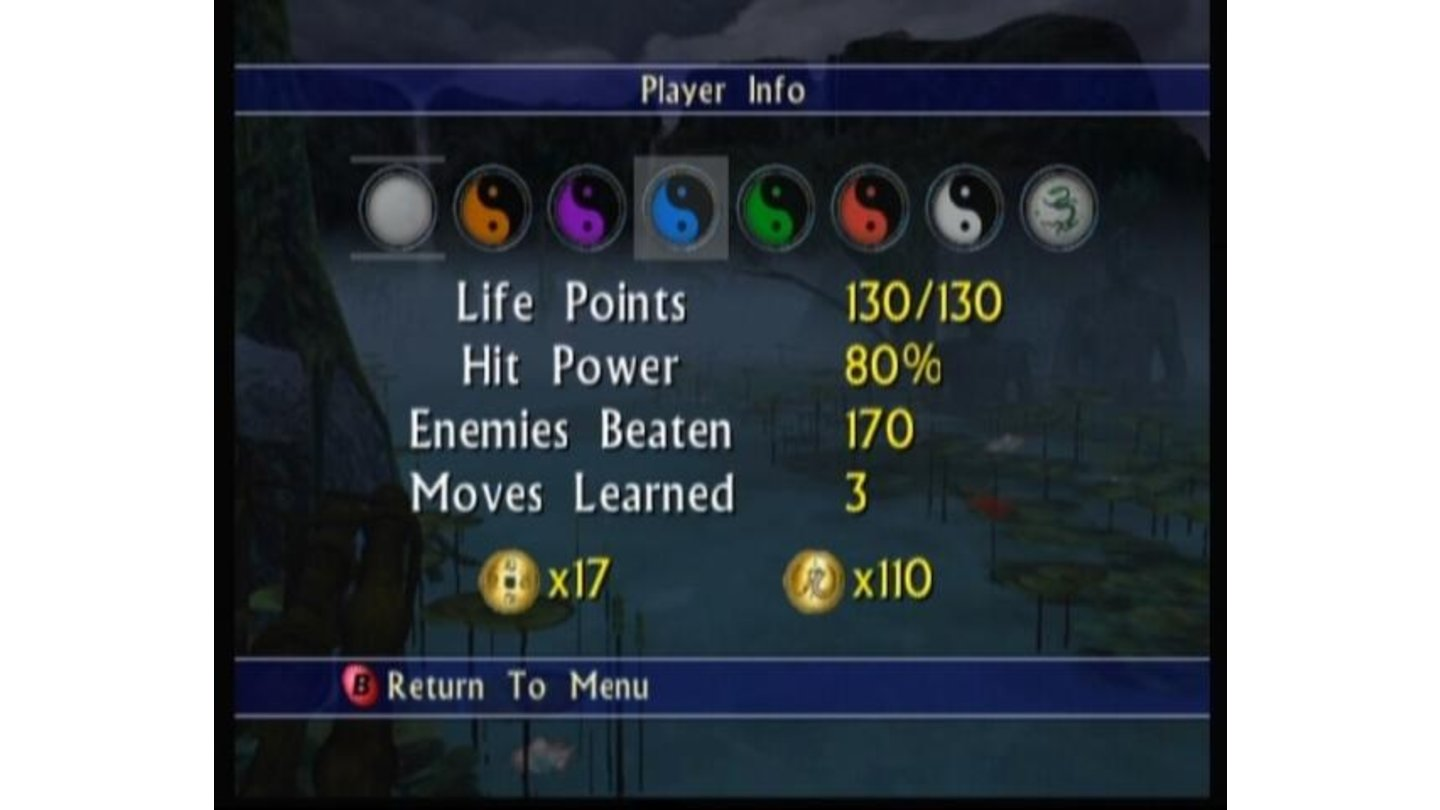 Player info screen shows your current hit power and health which are upgradable