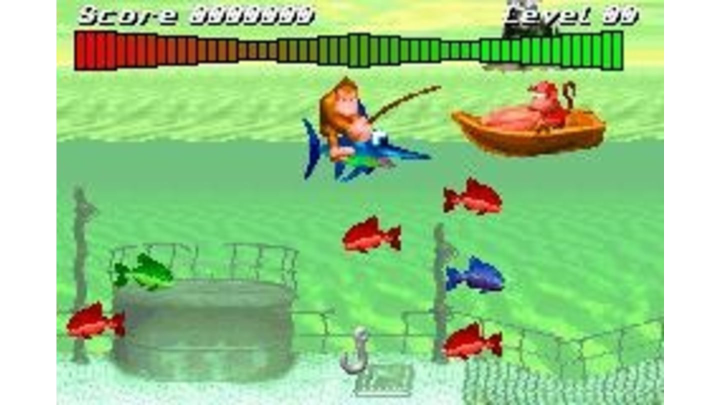Funky Fishing is an exclusive mini-game from this version. Catch more fishes to improve your score! And your dinner...