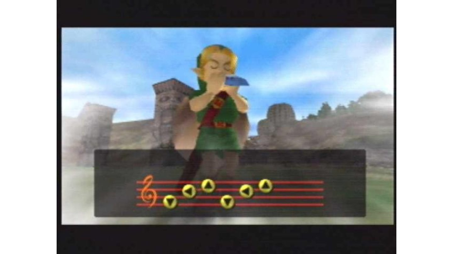 Link plays a tune on his ocarina.