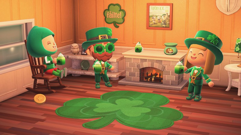 Animal Crossing feiert den St. Patrick's Day mit dem Kleeblatttag.